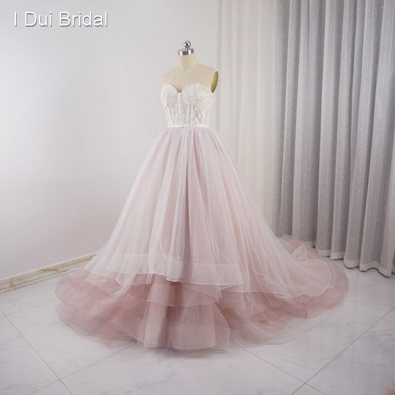 Chérie rose pâle robes de mariée Tulle couches dentelle perle perlée luxe fée romantique robe de mariée Photo réelle