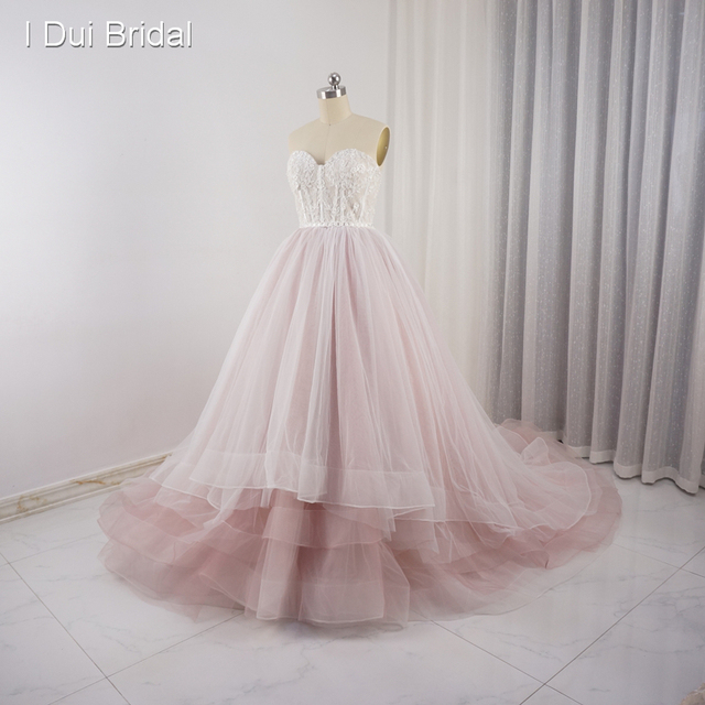 Sweetheart Pale Pink Wedding Dresses Tulle Layers Lace Pearl Beaded Luxury Fairy Bridal Gown Real