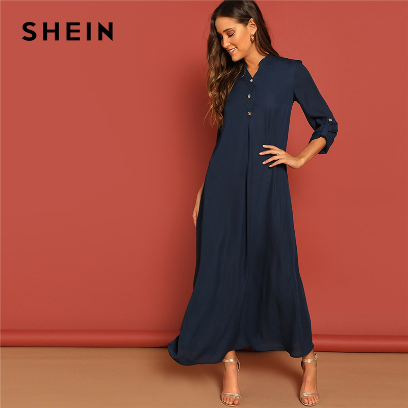 SHEIN Rolled Tab Sleeve Round Neck Button Front Long Sleeve Plain Dress Autumn Women Long Sleeve Solid Arabian Dresses