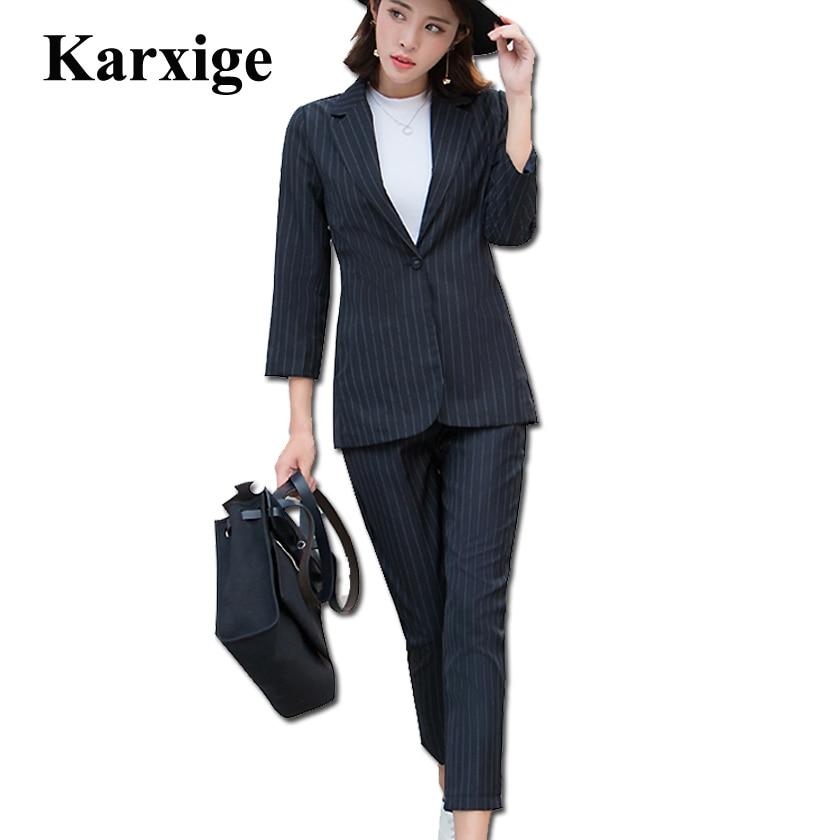 Large 2017 Korean Slim Stripe Temperament Waist Women High End Female All Match Suit elegant