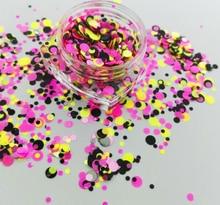 17USD/100g Matte Neon Glitter Dots Spots Mix 1/2/3 mm Circles  for Gel Nail Art & Acrylic #005