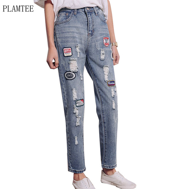 2017 Fashion Embroidered Patch Holes Denim Beggar Harem Pants Ripped Jeans Woman Casual Printed Female Trousers Wild Pantalones