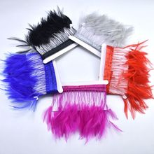 2Meters Natural Rooster tail Feather Trims Fringe 4-6inches DIY feathers Ribbon plumes Sewing Carnival dress Clothing decoration