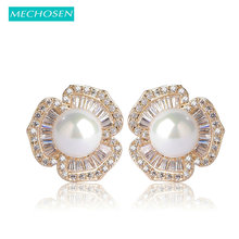 MECHOSEN Elegant Pearls Stud Earrings for Women AAA Zircon Flowers Brincos Gold Rhinestone Aretes Jewelry Boucle d'oreille Girls