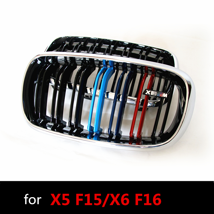 F15 F16 M-style Chrome Gloss 3-color ABS Plastic Front Racing Grill Grille for BMW F16 X6 BMW F15 X5 2014 2015 2016 2017 2018 2007 2013 kidney shape matte black abs plastic e70 e71 original style x5 x6 front racing grill grille for bmw e70 x5 bmw x6