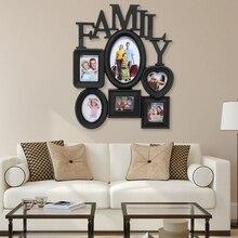 Marco de foto familiar para colgar en la pared 6 imágenes de varios tamaños soporte de pantalla decoración del hogar regalo 30X37Cm de espalda lado con tiras