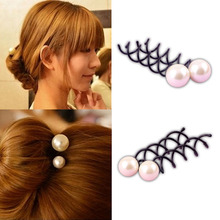 2019 New Pearl Twist Hair Clips Black Hairpins For Women Girls Pro Spiral Spin Screw Accessories Donut Bun Styling Tools