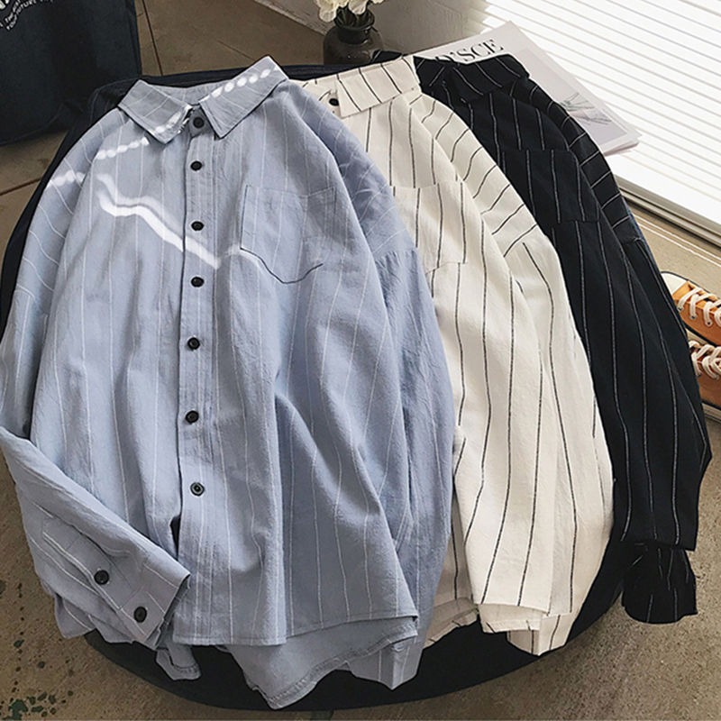 2019 printemps lâche rayures chemises femmes à manches longues coréen Preppy Style chemise col carré blanc bleu noir chemisier décontracté