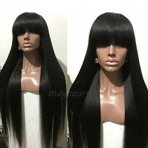 Image 3 - Uzun düz sentetik saç kahküllü peruk uzun siyah saç peruk kadınlar için