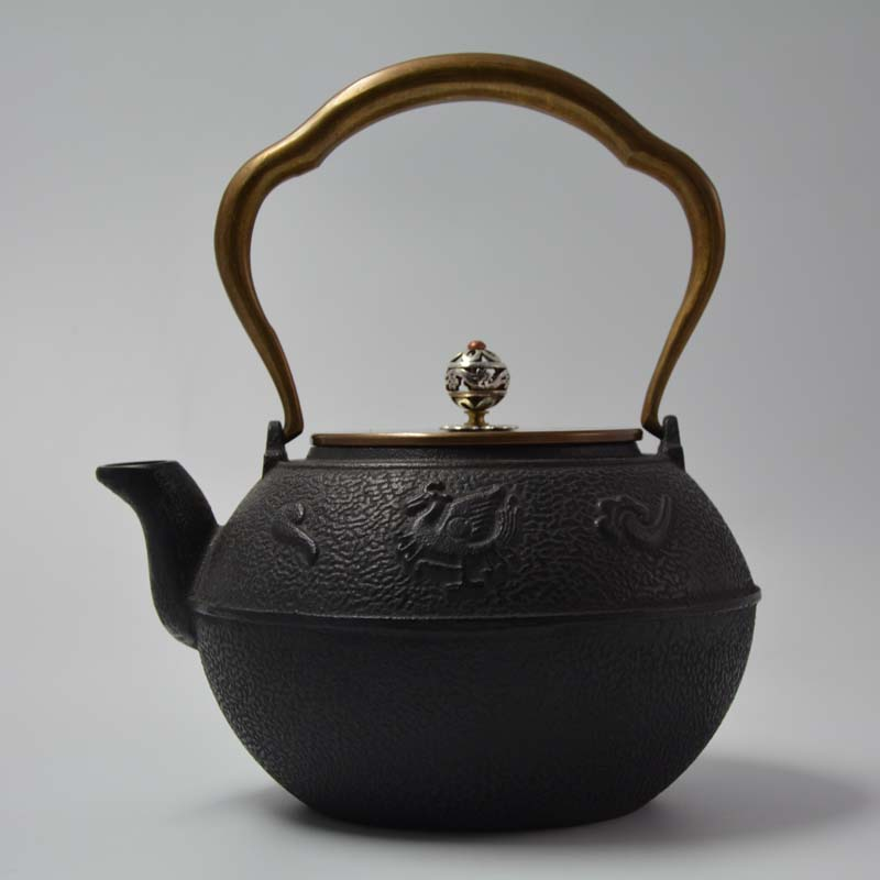 Rosefinch iron pot cover the copper to copper coating of old iron pot Southern iron teapot boiled tea 1.2L