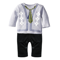 Newborn Baby Clothes Gentleman Bow Print One Pieces Toddle Romper Infant Boys Long Sleeve Jumpsuit Clothing