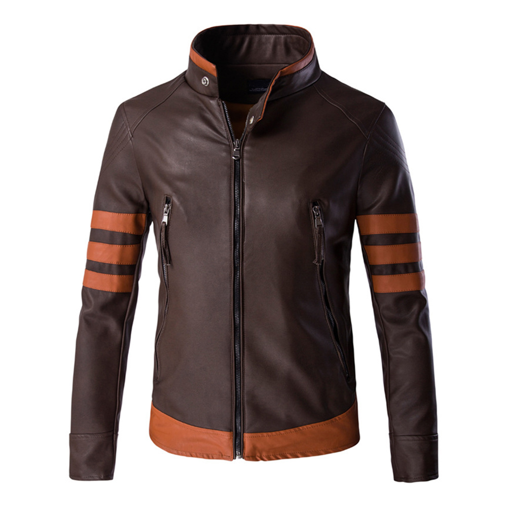 Herobiker Classical Motorcycle Jacket Men Retro PU Leather Jacket Motorbike Punk Windproof Casual Faux Leather Moto Jacket flap button embellished zip up faux leather jacket