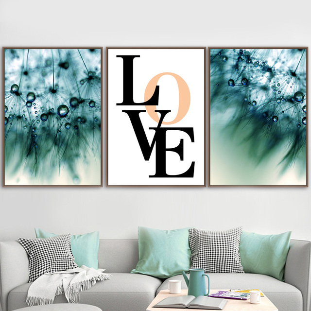 Abstract Dandelion Dew Quotes Landscape Wall Art