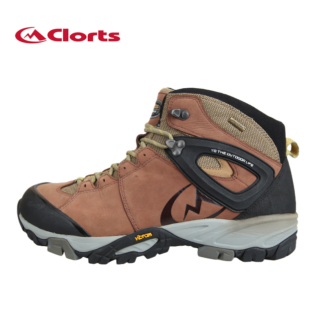 Clorts Genuine Leather Hiking Boots Waterproof Mountain Sneakers for Men Vibram Outsole Non-slip Hiking Shoes