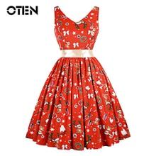 OTEN Christmas dresses woman Summer 2018 Sleeveless Flower Leaf Printed Hepburn 50s 60s Vintage retro Rockabilly Skater dress цена 2017