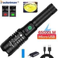 65000LM puissant lampe de poche LED XHP50.2 Ultra lumineux lampe de poche Zoom torche LED USB lampe de poche Rechargeable avec batterie 18650