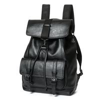 Leather Men's Backpack Male Bookbag Black Waterproof Mochila Masculina Knapsack Travel Mens Backpacks Mochilas Hombre