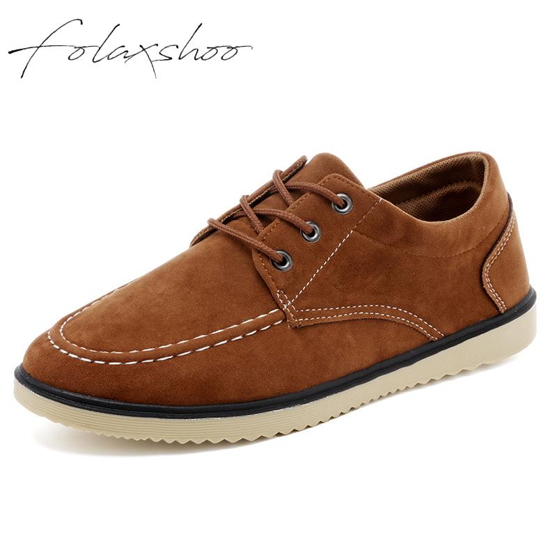 Folaxshoo Lace-up Spring Autumn Man Shoes   Leather   Men Casual Breathable Casual   Suede   Shoes Mocasines Hombre Chaussure Hommes