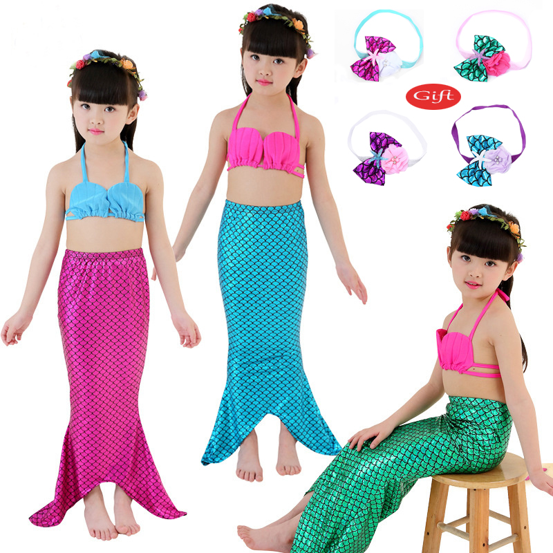 Mermaid Tail  Kids Costume  Cosplay  Princess Ariel  Baby Girl  Maid Tails Fancy Dress Swimmable Bikini Set Bathing Suit New