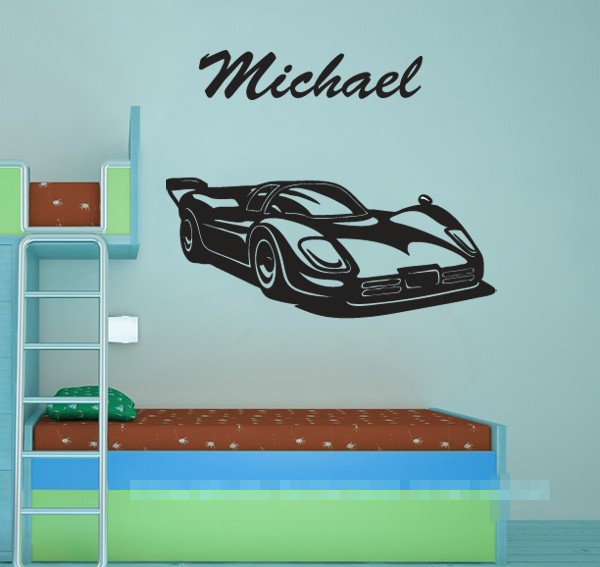 Customise name & Race car wall sticker for someone desire something special Personalised Name Wall Decals Wallpaper Mural D595