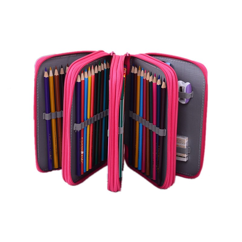 72 Holders 4 Layer Portable Oxford Canvas School Pencils Case Pouch Pen Holder Stationery Case School Supplies Color Pencil Bag big capacity high quality canvas shark double layers pen pencil holder makeup case bag for school student with combination coded lock