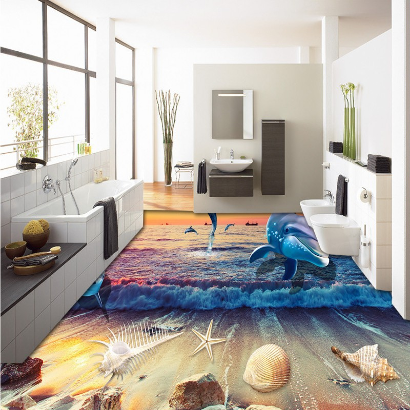 Free Shipping Sunset Sunset Seashells beach water 3D floor painting bedroom self-adhesive living room bathroom flooring mural free shipping marble texture parquet flooring 3d floor home decoration self adhesive mural baby room bedroom wallpaper mural