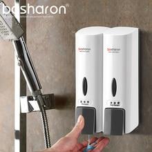 Dubbla hand flytande tvål Dispenser Väggmonterad Shampoo Dusch Gel Hand Sanitizer Body Wash Bottle Kök Badrumstillbehör