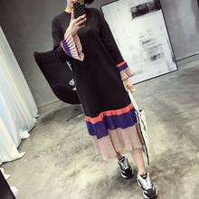 Women Autumn New All-match Color Chiffon Fold Long Section Loose Knit Dress Female Clothing Black