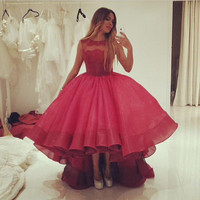 Red Vestido De Noiva 2019 Muslim Wedding Dresses Ball Gown Hi Low Organza Lace Boho Dubai Arabic Wedding Gown Bridal Dress