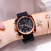 Designer Women Watch 2019 reloj mujer Fashion Square Ladies Dress Quartz Wrist Watches For Women Nylon Strap Clock montre femme цена