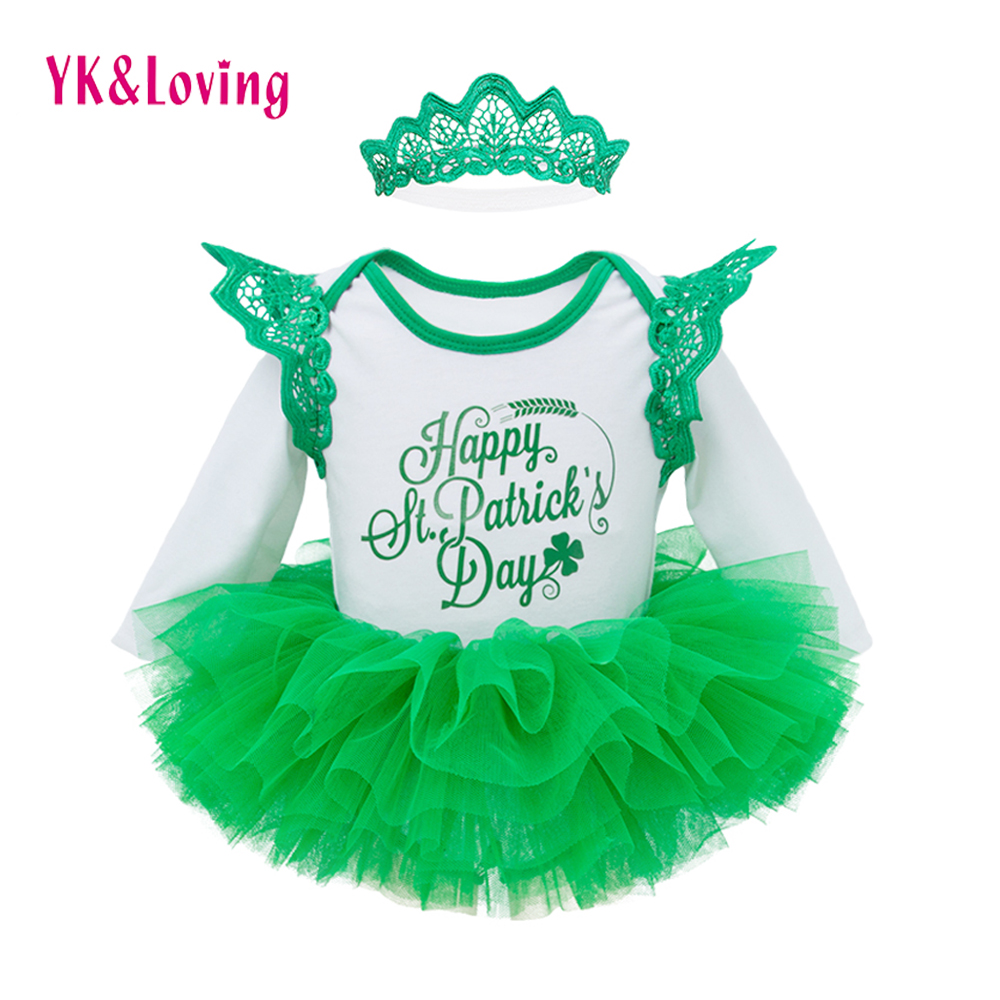 Green Saint Patrick's Day Baby Girl Clothes Romper+Tutu Skirt+Headband 3Pcs Infant Clothing Sets Newborn Party Suits Outfits infant newborn baby girl summer casual clothes big ruffles sleeve watermelon romper outfits sunsuit jumpsuit clothing