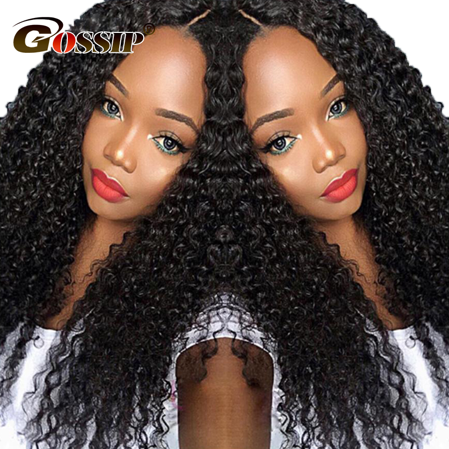 Gossip 180 Density Lace Front Human Hair Wigs For Women Afro Kinky Curly PrePlucked Lace ...