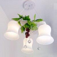 Blanco jardín moderno luces colgantes cristal de plástico de uva colgando lámparas colgantes dormitorio verde de la hoja de tela iluminaciones pendientes