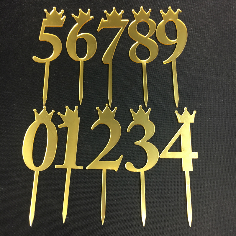 1pcs New Crown Gold Number 0123456789 Birthday Cake Topper Acrylic Golden Silvery pink Annivesary Party Decoration
