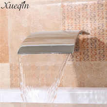 Solid Brass Waterfall Basin Sink Faucet Wall Mounted Square Bathroom Silver Basin Faucet Bathtub Tub Shower Faucet