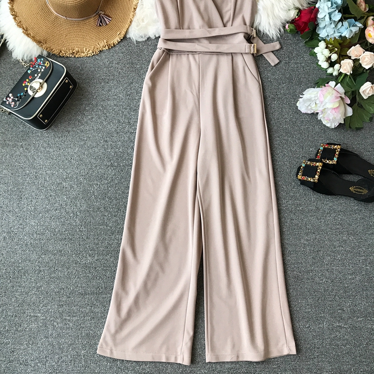 ALPHALMODA 2019 Spring Ladies Sleeveless Solid Jumpsuits V-neck High Waist Sashes Women Casual Wide Leg Rompers 26