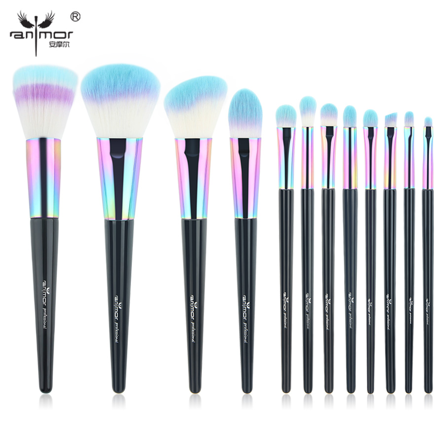 Anmor Rainbow Makeup Brushes 12 PCS Synthetic Foundation Powder Blush Eyeshadow Eyeliner Professional Make Up Brush Set CF-840 anmor make up brushes professional powder duo fibre eyeshadow makeup tool synthetic makeup brushes set with black bag