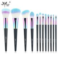 Anmor Rainbow Makeup Brushes 12 PCS Synthetic Foundation Powder Blush Eyeshadow Eyeliner Professional Make Up Brush Set CF 840