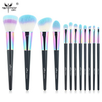 High Quality New Copper 12 Pcs Makeup Brush Set Colorful Makeup Brushes Beautiful Powder Blush Eyeshadow
