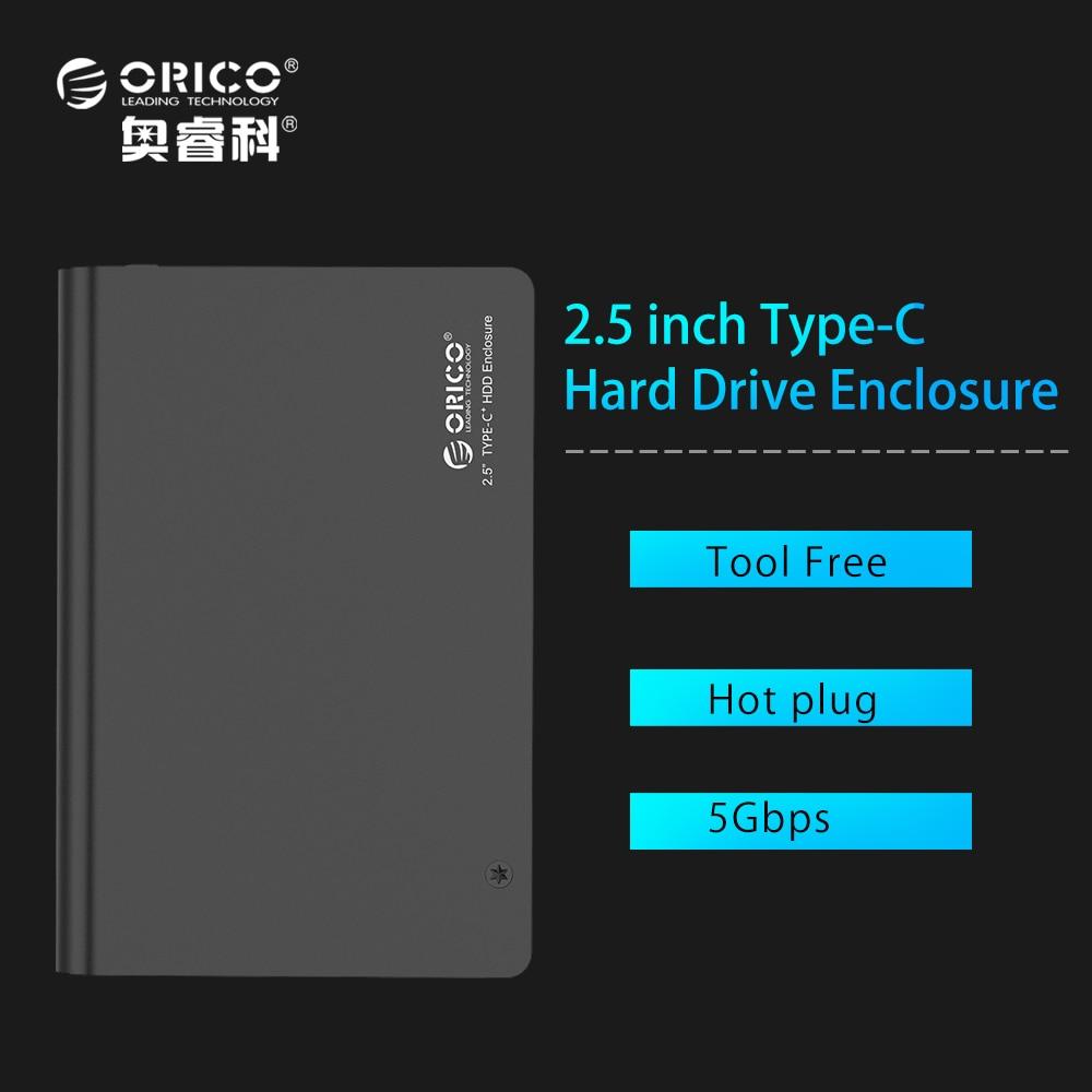 ORICO 2598C3 BK Aluminium 2 5 SATA3 0 USB3 0 HDD Enclosure Case Type c Hard