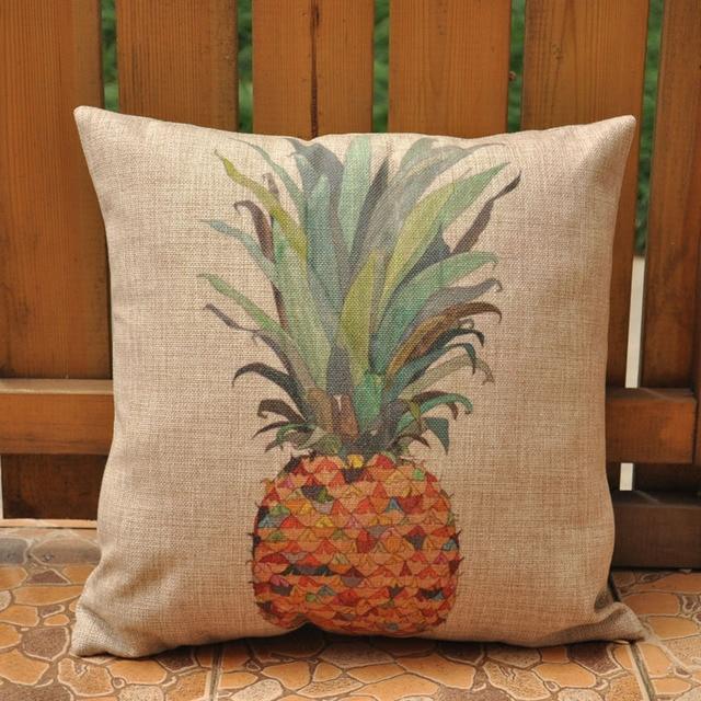 Plain Ananas Pillow Covers Cotton Linen Pillow Cover Tropical Throw