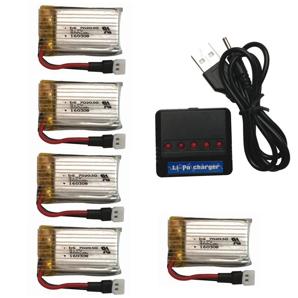 Hot 5pcs <font><b>3.7V</b></font> <font><b>300mAh</b></font> <font><b>Battery</b></font> With 1 to 5 Charger For Eachine E55 FQ777 FQ17W Hubsan H107 Syma X11C JD385 JJ1000A H108C U816 image