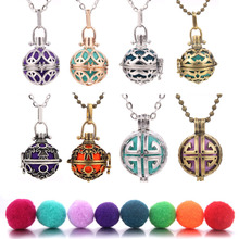 Round Mexico Chime Music Ball Caller Locket Necklace Vintage Pregnancy Necklace for Aromatherapy Essential Oil Pregnant Women mexico chime music bell angel ball caller locket necklace flower pregnancy necklace perfume aromatherapy essential oil necklace
