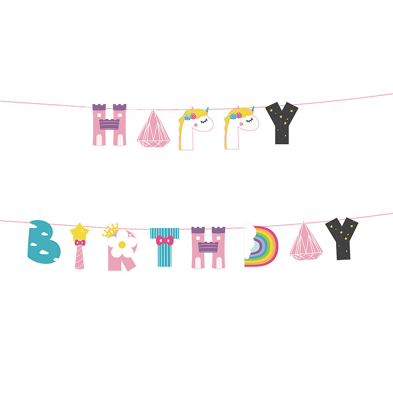 1set Unicorn Bunting Banner Baby Shower kids Boy Girl 1th Birthday Gender Reveal Party F ...