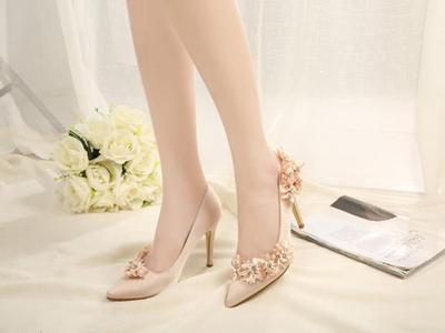ФОТО 2017 spring high heels shoes sexy shallow women pumps fashion pointed toe flower ladies shoes crystal wedding shoes size 41