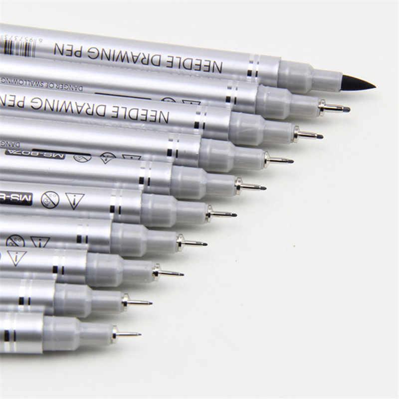 10 pièces Dessin stylo fineliner ultra fine ligne Art Marqueur d'encre Noir 0.1 0.2 0.3 0.4 0.5 0.6 0.8 1.0 Brosse Manga anime microns Stylo