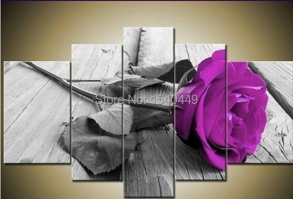 Hand Painted Modern Wall Home Decor Large Canvas Oil Painting Landscape Purple Rose Flower Paintings 5pcs Set No Framed 88