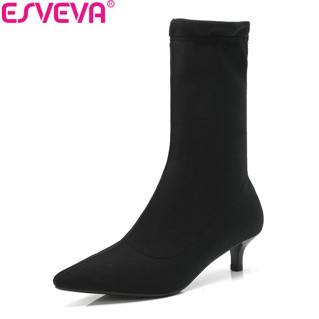 ESVEVA 2019 Women Boots Sexy Thin Heels Mid-calf Boots Pointed Toe Spring Autumn Shoes Slip on Elegant Boots Woman Size 34-39 european sexy leopard woman boots pointed toe mid calf boots for women super high thin heels slip on women shoes spring autumn