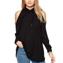 Women off shoulder long shirts sexy chiffon tops turn down collar blouse Blusas Femininas long sleeve casual plus size