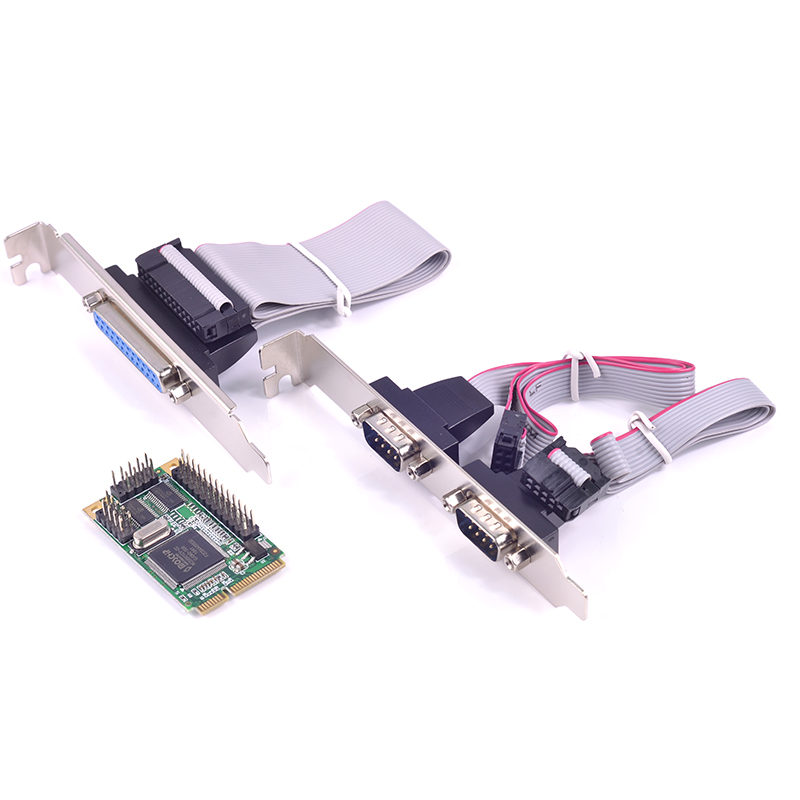 mini PCIe to 2 Port Rs232 LPT Parallel IEEE 1284 Controller card mini PCI e to DB25 printer LPT port adapter for mini ITX